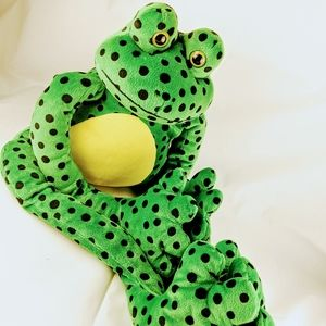 Large Frog plush W/ Velcro Hands & Feet Green w/